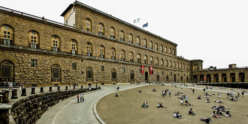 The entrance to the Palazzo Pitti (Pitti Palace) in Florence. (Photo by Avital Pinnick)