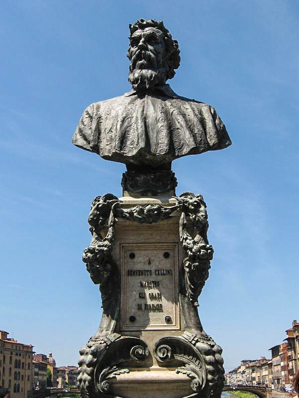 A bust of Florentine silversmith (and famed Renaissance sculptor and autobiographer) Benvenuto Cellini graces the middle of the Ponte Vecchio in Florence. (Photo by Monica)