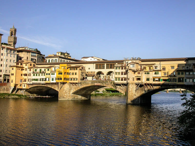 The medieval shop-lined Ponte Vecchio (Old Bridge) over the Arno River in Florence. (Photo by Reid Bramblett)