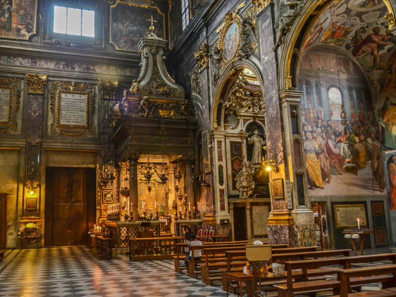 The nave of the church of Santissima Annunziata and its Chapel of the Annunciation in Florence. (Photo by Richard Mortel)