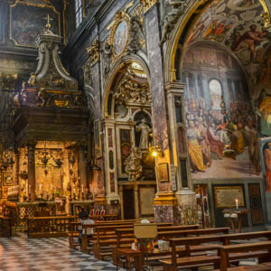 The nave of the church of SS. Annunziata and its Chapel of the Annunciation in Florence. (Photo by Richard Mortel)