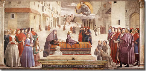 The Miracle of the Boy Brought Back to Life, a fresco by Domenico Ghirlandaio in Florence's church of Santa Trinita