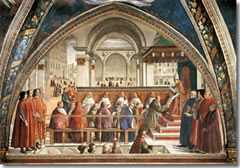 St. Francis Receiving the Rule of Orders for Pope Honorius, a fresco by Domenico Ghirlandaio in the Sassetti Chapel of Santa Trinita church in Florence