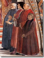 Francesco Sassetti, Lorenzo de' Medici, and Antonio Pucci in the Ghirlandaio frescoes of Santa Trinita