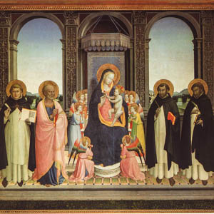 Beato Angelico's Triptych of Fiesole, or Madonna and Child with Saints (1424/30) in the church of San Domenico di Fiesole, Florence. (Photo by Asaf Braverman)