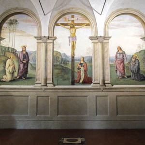 Perugino's Crucifixion and Saints (1493–96) in the church of Santa Maria Maddalena dei Pazzi, Florence. (Photo by Sailko)