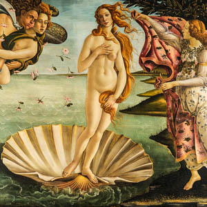 Boticelli's Birth of Venus in the Galleria degli Uffizi, Florence
