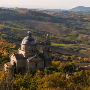 The Renaissance church of San Biagio outside teh wine town of Montepulciano, Tuscany, Italy
