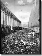 The destruction of the Camposanto during World War II