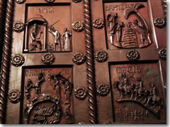 A detail from the 11th century bronze doors that once graced the cathedral.