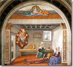 The vision of Santa Fina by Domenico Ghirlandaio in the Colleggiata of San Gimignano