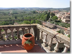 The Tuscan countryside view from the ramparts of San Gimignano.