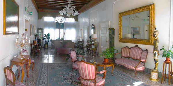 The lobby in the Hotel Pensione Accademia, Venice