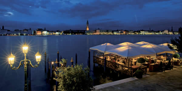 A restaurant at the Hotel Cipriani on Giudecca in Venice