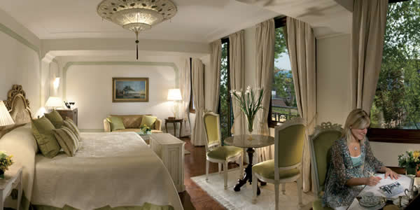 A room at the Hotel Cipriani on Giudecca in Venice