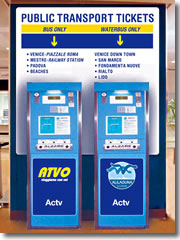 Automated tickets machines for land buses (left) and water bus ferries (right) at the Venice airport.