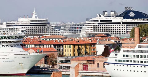 Cruise ships tower over Venice