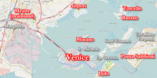 The sestieri districts and islands of Venice