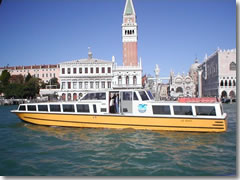 The Alilaguna traghetto (public ferry) from Marco Polo airport into Venice via Paizza San Marco.