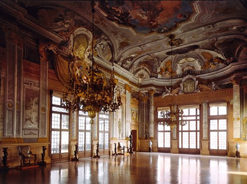 The ballroom in the Ca' Rezzonico in Venice.