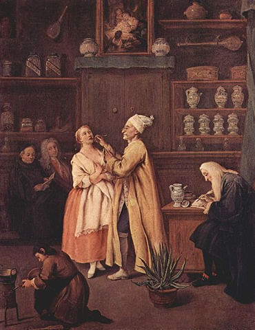 The Apothecary (1752) by Pietro Longhi in the Museo del '700 Veneziano in the Ca' Rezzonico, Venice