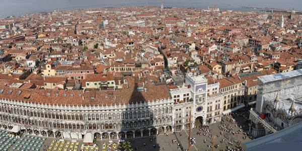 A view of Piazza San Marco from the top of the Campanile di San Marco, Venice
