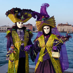Masked and costumed Carnevale celebrants in Venice