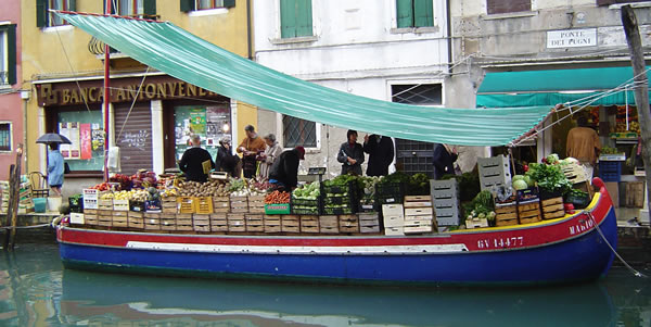 The produce boat in Venice