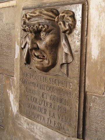 A Bocca di Leone, or Lion's Mouth, slot for accusing fellow citizens of a crime at Venice's Palazzo Ducale.