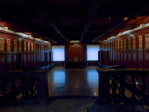 The secret meeting chamber for the Council of Ten in Venice's Doge's Palace; Secret Itineraries tour.