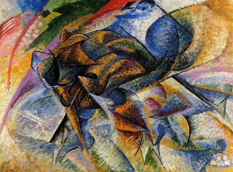 Dynamism of a Biker, or The Cyclist (1913) by Umberto Boccioni in the Peggy Guggenheim Museum of Venice, Italy