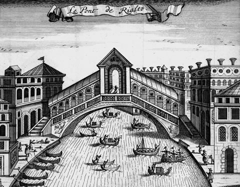 The Rialto Bridge in Venice in 1694