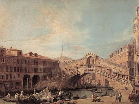 The Rialto Bridge in Venice in 1727
