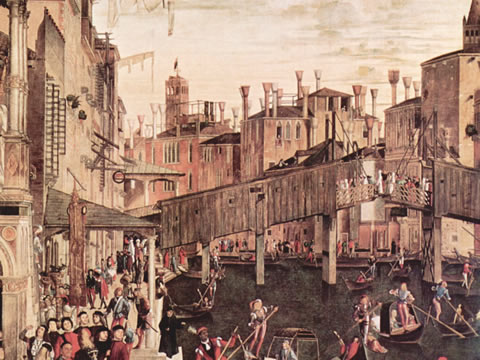 The Rialto Bridge as it appeared in 1494, in a detail from a painting by Vittore Carpaccio in the Accademie Galleries