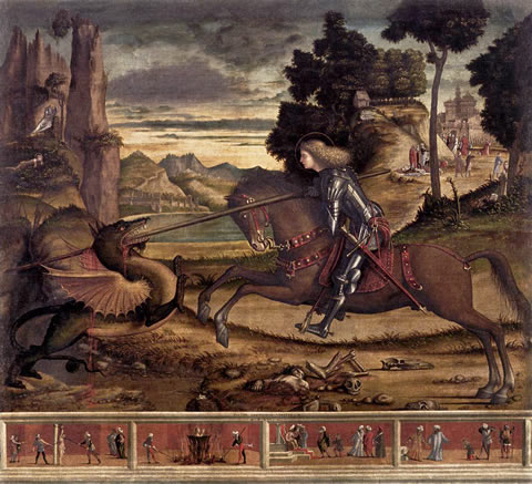 St. George and the Dragon (1516) by Vittore Carpaccio in the church of San Giorgio Maggiore, Venice