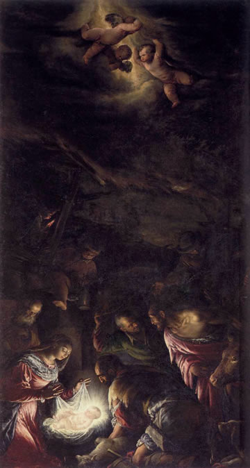 Adoration of the Shepherds (1591) by Jacopo Bassano (Jacopo da Ponte) in the church of San Giorgio Maggiore, Venice