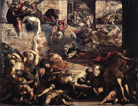 The Massacre of the Innocents by Tintoretto in the Scuola Grande di San Rocco in Venice.
