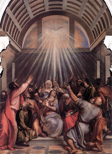 Descent of the Holy Ghost by Tiziano (1545) in the sacristy of Santa Maria della Salute, Venice