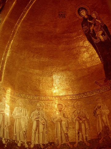 The golden 12th century mosaics in the apse of Basilica of Santa Maria Assunta on Torcello.